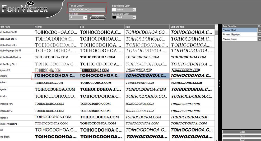 quản lý font với font-viewer