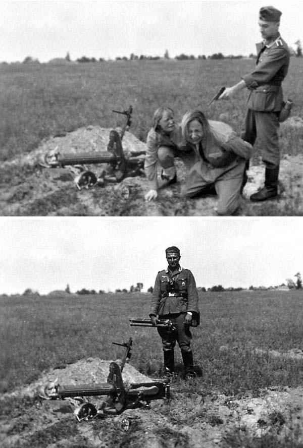 Một sĩ quan Đức bên cạnh một cây súng máy, được chỉnh sửa thành bức ảnh hành quyết nữ tù binh hồng quân Liên Xô
