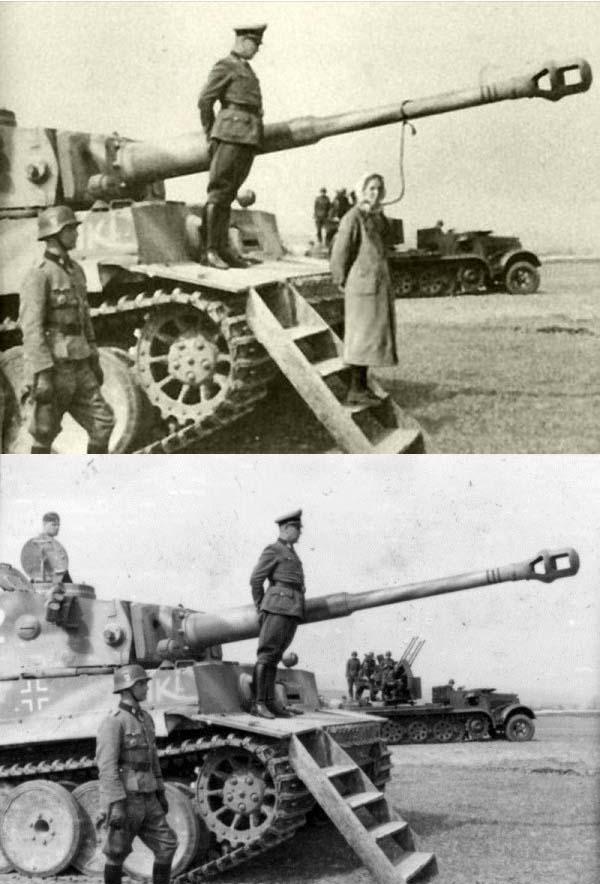 Một sĩ quan Đức được vinh danh trên chiến xa Tiger trong ảnh đã được biến đổi thành giá treo cổ