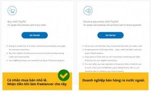 chọn tài khoản buy hay receive paypal